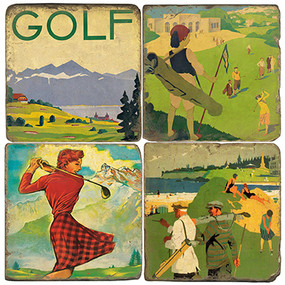 Vintage Illustrated Golf Coaster Set