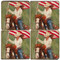 Cowgirl with American Flag Coaster Set