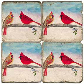 Colorful Painted Cardinals Coaster Set