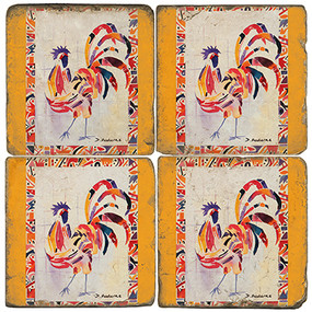 Colorful Chicken Coaster Set. Painting by Madaras Gallery.