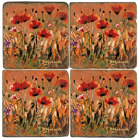 Colorful Wild Poppies Coaster Set
