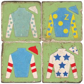 Jockey Jacket Coaster Set. Handmade Marble Giftware by Studio Vertu.