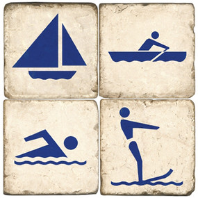 Blue Water Sports Icon Coaster Set