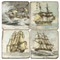 Vintage Ship Illustration Coaster Set
