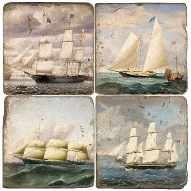 Vintage Ship Illustration Coaster Set