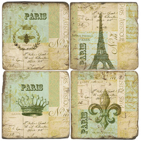 Paris, France Coaster Set. Handmade Marble Giftware by Studio Vertu.