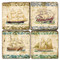 Vintage Illustrated Ships Coaster Set