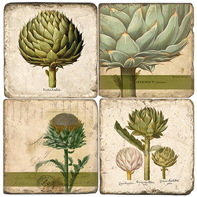 Botanical Artichoke Coaster Set. Handcrafted Marble Giftware by Studio Vertu.