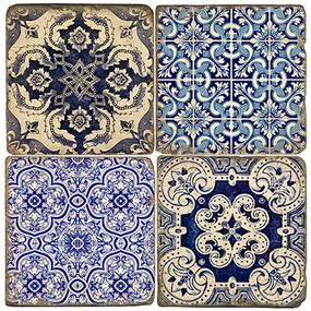 Azulejos Marble Coaster Set.  Handmade Marble Giftware by Studio Vertu.