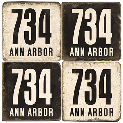 Ann Arbor Michigan Area Code 734 Coaster Set.