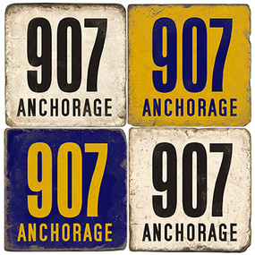 Anchorage Alaska Area Code 907 Coaster Set