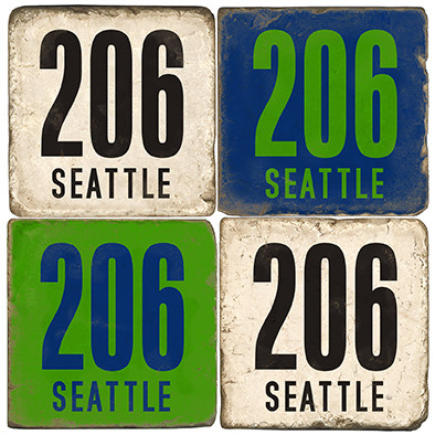 Seattle Washington Area Code 206 Coaster Set