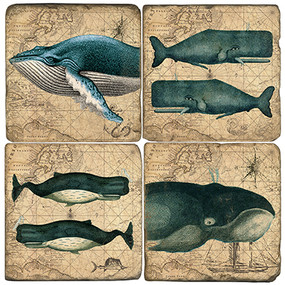 Vintage Whale Themed Coaster Set