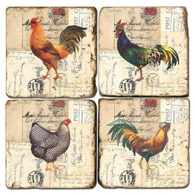 Roosters Coaster Set
