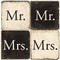 Black and White Mr. and Mrs. Coaster Set