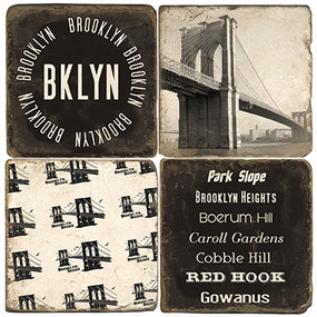 Brooklyn New York Coaster Set. Handmade Marble Giftware by Studio Vertu.