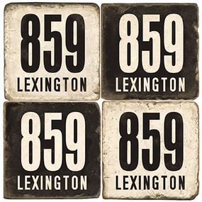 Lexington Area Code 859 Coaster Set.  Handmade Tumbled Marble Giftware by Studio Vertu.