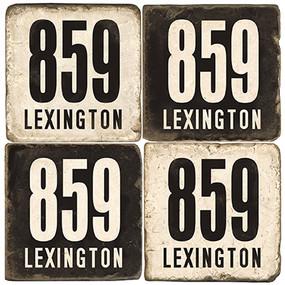 Lexington Area Code 859 Coaster Set.  Handmade Tumbled Marble Giftware by Studio Vertu.