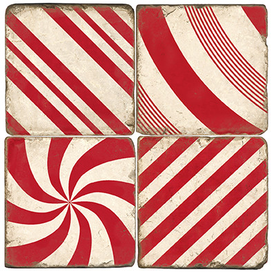 Candy Cane Stripe Coaster Set