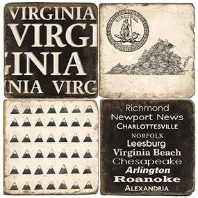 Black & White Virginia Coaster Set