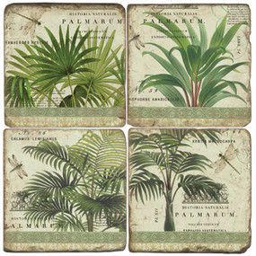 Vintage Palms Coaster Set. Handmade Marble Giftware by Studio Vertu.