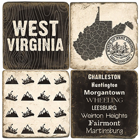 Black & White West Virginia Coaster Set