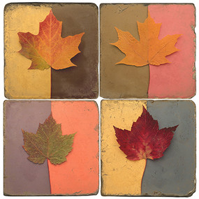 Colorful Leaves Coaster Set