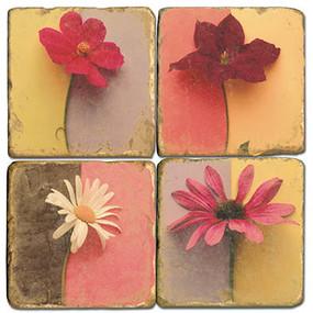 Colorful Single Flowers Coaster Set