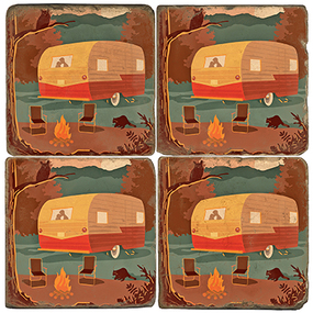 Camper coaster set.  Illustration by Anderson Design Group.