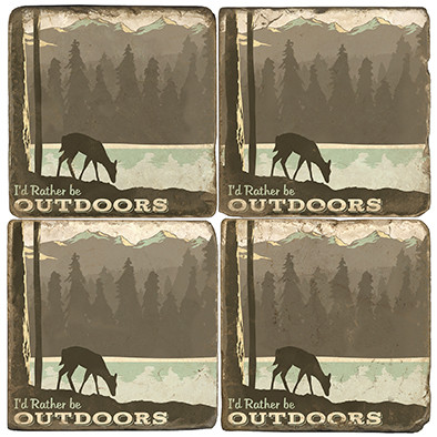 Outdoors Themed Coaster Set.  Illustration by Anderson Design Group.