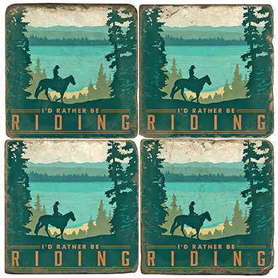 Horseback Riding Themed Coaster Set.  Illustration by Anderson Design Group.