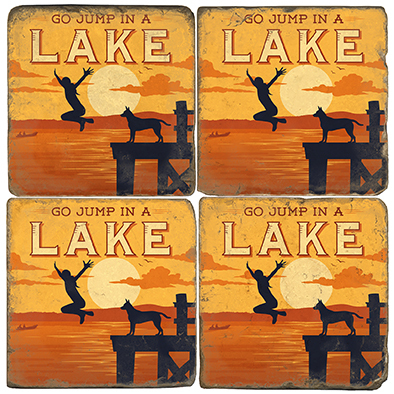 Lake Themed Coaster Set.  Illustration by Anderson Design Group.