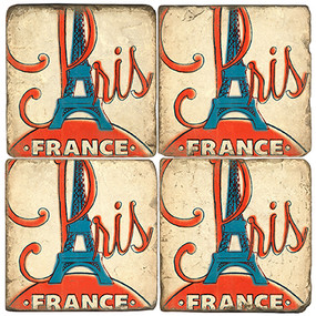 Vintage 1960s Paris Coaster Set. Illustration by Anderson Design Group. Handmade Marble Giftware by Studio Vertu.