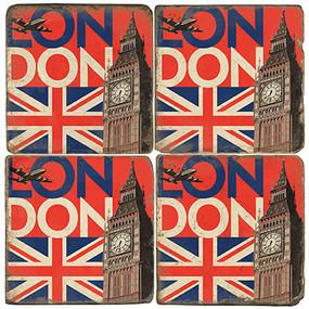 Big Ben, London Coaster Set.  Illustration by Anderson Design Group.