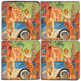 Colorful Cuba Inspired Coaster Set. Illustration by Anderson Design Group.