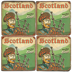 Scottish Piper Coaster Set. Illustration by Anderson Design Group.