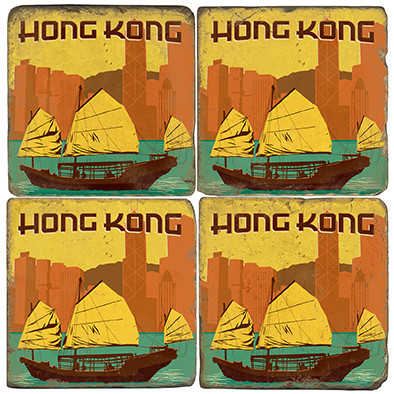 Hong Kong, China Coaster Set.  Illustration by Anderson Design Group.