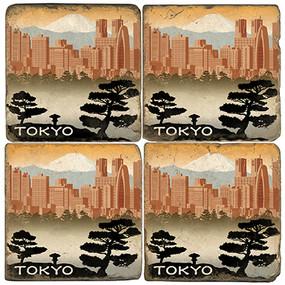 Tokyo, Japan Coaster Set.  Illustration by Anderson Design Group.