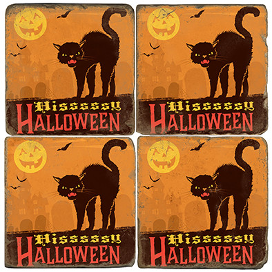 Black Cat Halloween Coaster Set. License artwork by Anderson Design Group.