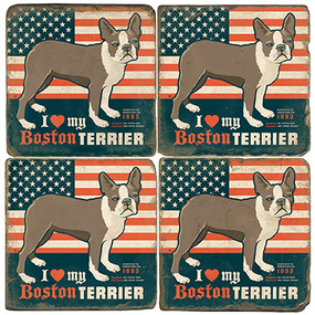 I love my Boston Terrier Coaster Set. License artwork by Anderson Design Group.