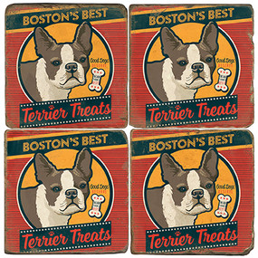Boston Terrier Treats Coaster Set. License artwork by Anderson Design Group.