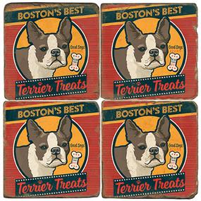 Boston Terrier Treats Coaster Set. License artwork by Anderson Design Group.