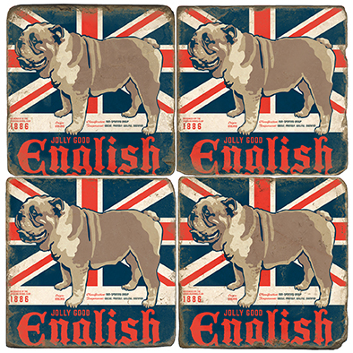 English Bulldog Coaster Set. License artwork by Anderson Design Group.