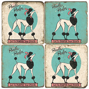 Poodle Coaster Set. License artwork by Anderson Design Group.