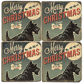 Merry Christmas Dog Treats Coaster Set. License artwork by Anderson Design Group.