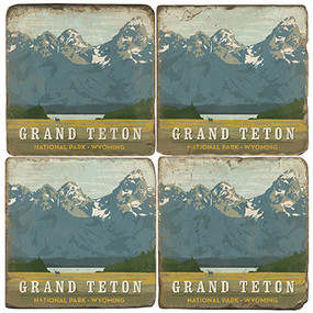 Grand Teton National Park Coaster Set. License artwork by Anderson Design Group. Handmade Marble Giftware by Studio Vertu.