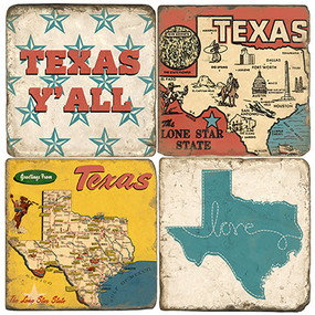 Greeting from Texas coaster set. Handmade Marble Giftware by Studio Vertu.