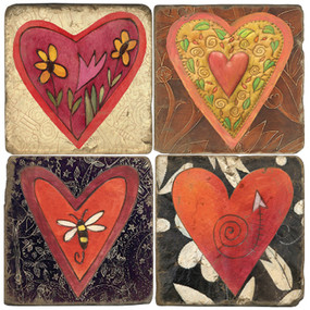 Heart Coaster Set. License artwork by STICKS.
