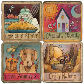 Quotes Coaster Set. License artwork by STICKS.