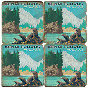 Kenai Fjords National Park Coaster Set. License artwork by Anderson Design Group.